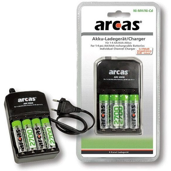 ARCAS 2009 töltő + 4db 2700mAh AA HR6 elem akkumulátor töltő szett