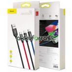 Baseus Cable Three Primary Colors 3-in-1 mobiltelefon töltő kábel