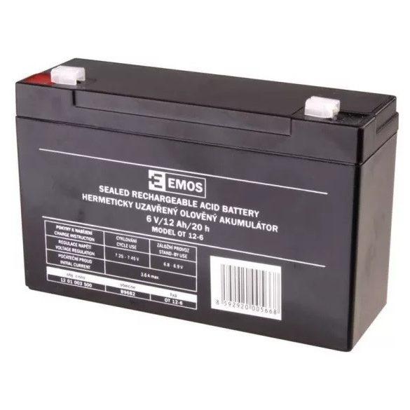 EMOS 6V 12Ah OT 12-6 B9682 zselés akkumulátor