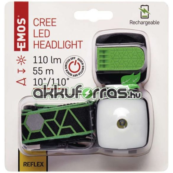 EMOS P3535 3W CREE + 4 SMD LED akkumulátoros fejlámpa