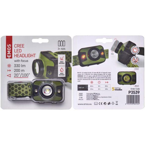 EMOS P3539 330lm plasztik fókuszálható 3 LED fejlámpa