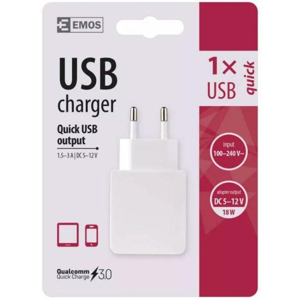 EMOS V0113 univerzális QUICK 3 A (18 W) univerzalis USB hálózati mobiltelefon töltő adapter
