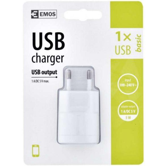 EMOS V0115 BASIC 1A univerzális USB hálózati mobiltelefon töltő adapter