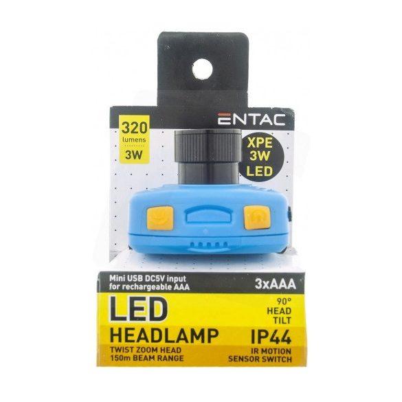 Entac 3W 320lm fókuszálható plasztik szenzoros LED fejlámpa