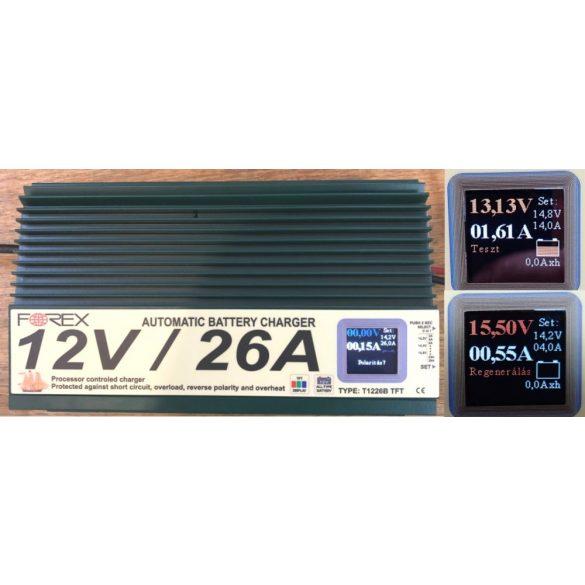 Forex 12V 26Ah T1226B TFT regeneráló automata zselés akkumulátor töltő