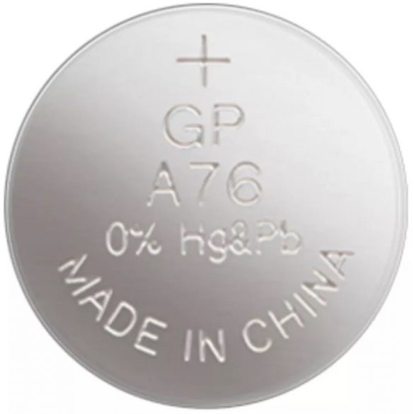 GP A76, V13GA, LR44 alkáli gombelem