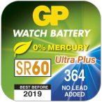 GP SR60 364 SR621SW ezüst-oxid gombelem