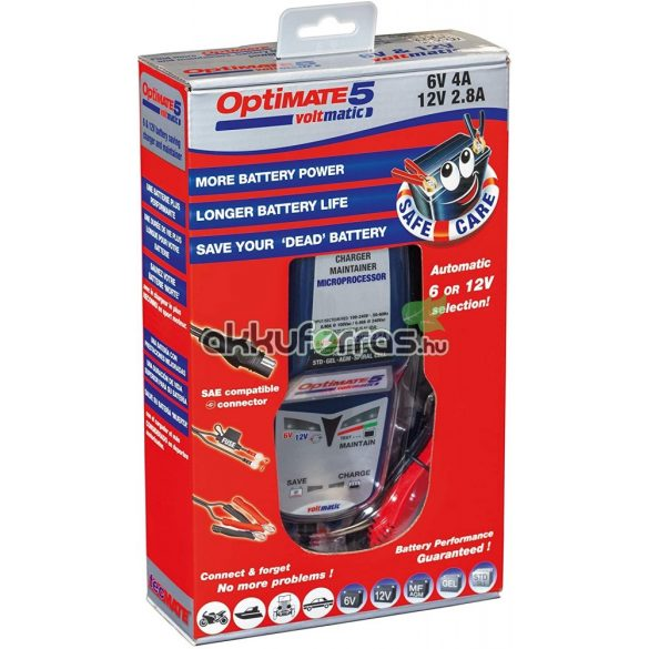 Optimate 5 voltmatic 6V-12V automata akkumulátor töltő
