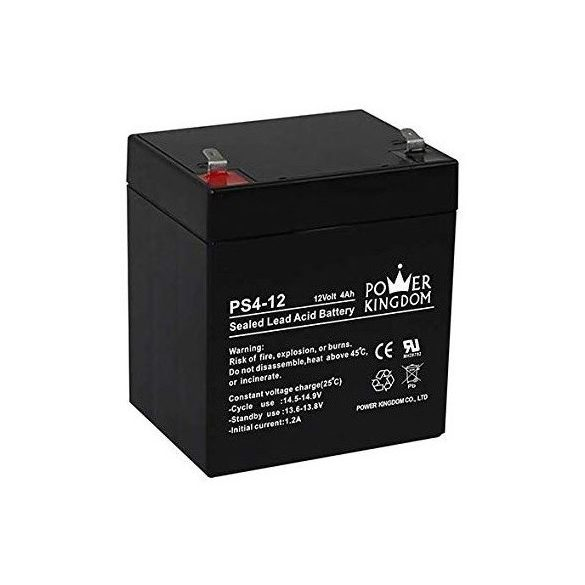 Power Kingdom PS4-12 12V 4Ah zselés akkumulátor