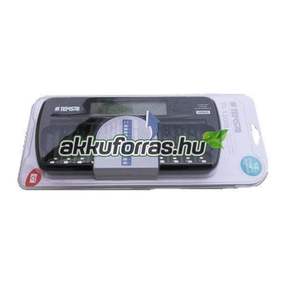 TI-1200L Tensai GENIUS LCD kijelzős 12db AA AAA elem akkumulátor töltő