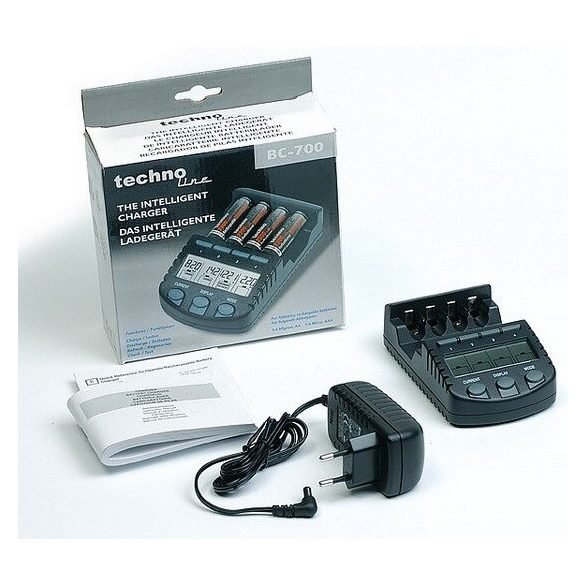 Technoline BC-700 mikroprocesszor vezérlésű AA AAA elem akkumulátor töltő