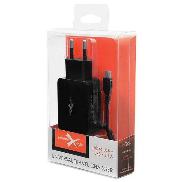 Travel charger eXtreme® micro USB + USB 3.1A univerzális hálózati töltő
