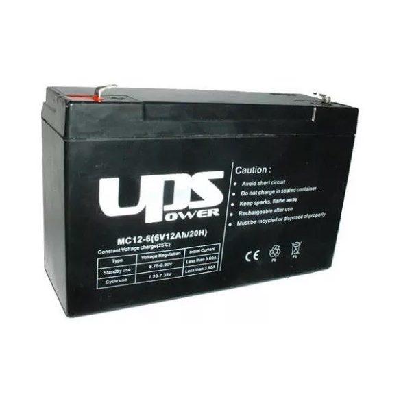 6V 12Ah UPS Power MC12-6 zselés akkumulátor