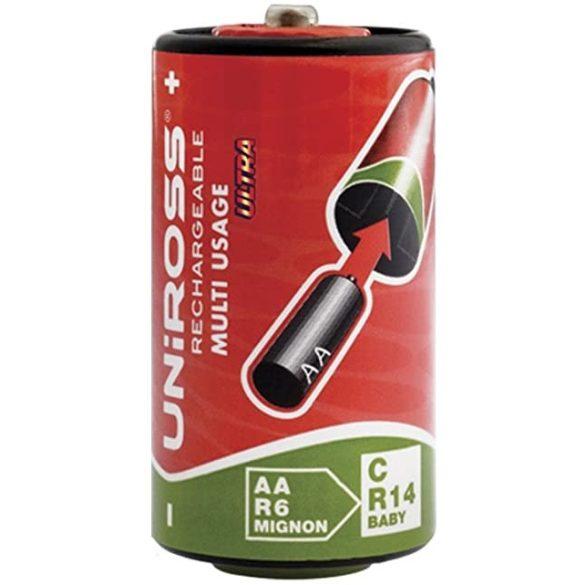 Uniross elemátalakító AA-C ceruza-baby elem adapter