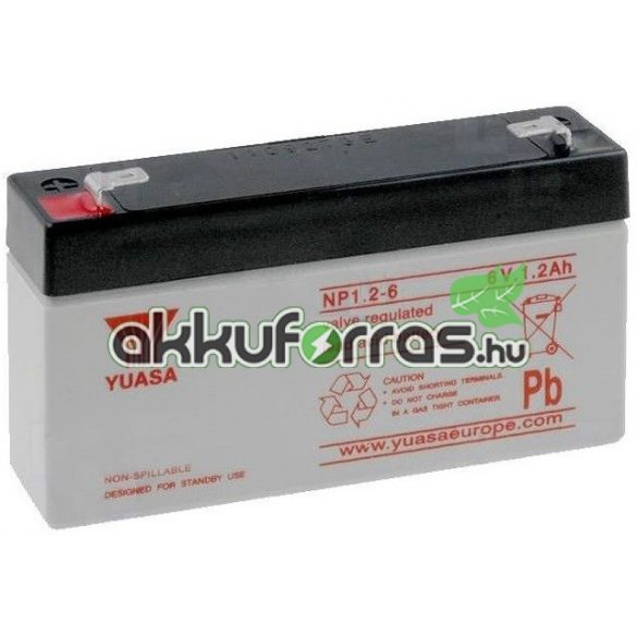 YUASA NP1.2-6 6V 1,2Ah zselés akkumulátor