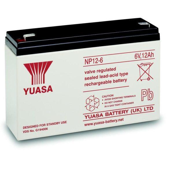 YUASA NP12-6 6V 12Ah zselés akkumulátor
