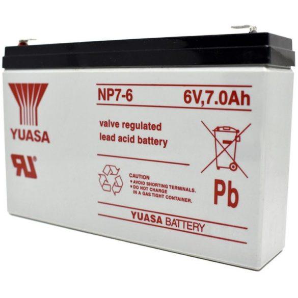 YUASA 6V 7Ah NP7-6 gondozásmentes akkumulátor
