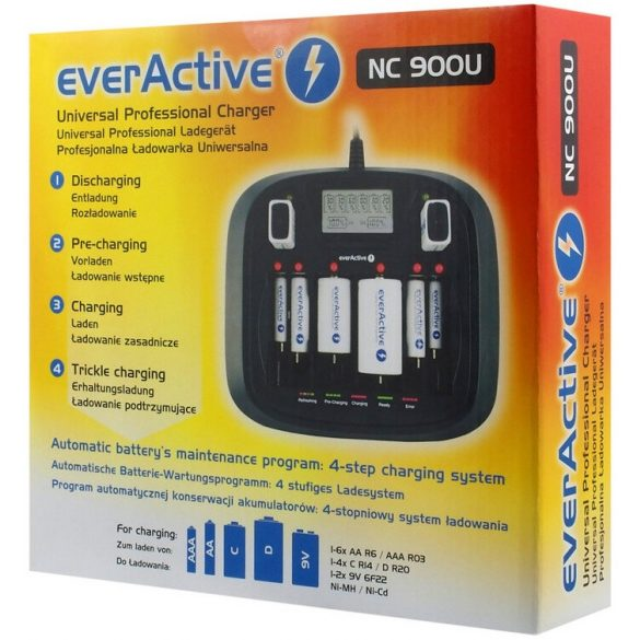 everActive NC-900U univerzális professionális AAA AA C D 9V multi elem akkumulátor töltő